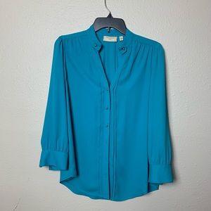 Moulinette Soeurs Anthropologie blue buttoned top